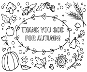 Coloriage thank you god for automne automne