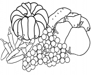 Coloriage automne harvest coloring page fall