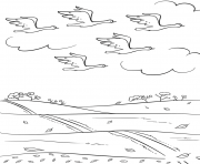birds fly south in automne fall dessin à colorier
