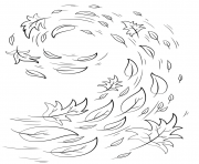 swirling automne feuilles automne dessin à colorier