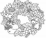 couronne automne feuilles fruits dessin à colorier