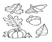 feuilles automnes dessin à colorier