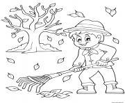automne ramasser les feuilles dessin à colorier