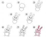 apprendre a dessiner lapin dessin à colorier