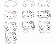 Coloriage dessin facile a faire hello kitty