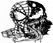 spiderman venom mask dessin à colorier