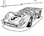 Coloriage simple voiture de course logo soleil dessin
