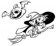 citrouille et sorciere dans les airs dessin à colorier