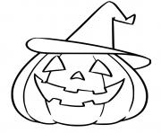 citrouille avec chapeau dessin à colorier