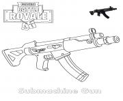 Coloriage Submachine Gun Fortnite