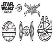 star wars emoji vaiseaux dessin à colorier