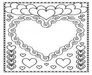 st valentin coeurs blanc dessin à colorier