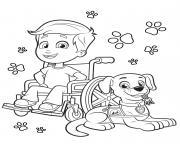chien de compagnon avec un petit garcon dessin à colorier