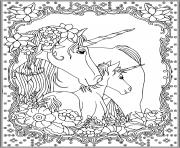 Coloriage licorne unicorn adulte
