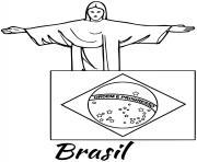 bresil drapeau jesus dessin à colorier