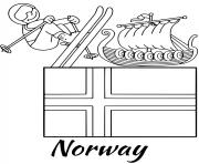 Coloriage norway drapeau skiing