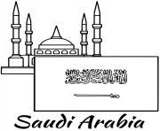 arabie saoudite drapeau mosque dessin à colorier
