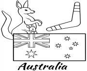 australie drapeau boomerang dessin à colorier