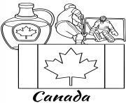 canada drapeau maple syrup dessin à colorier