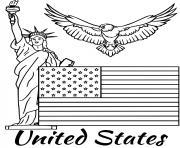 etats unis drapeau dessin à colorier