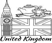 Coloriage royaume uni drapeau big ben