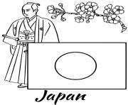 japon drapeau samurai dessin à colorier