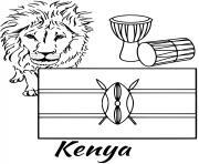 kenya drapeau lion dessin à colorier