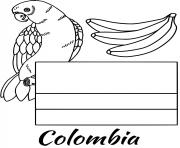colombie drapeau parrot dessin à colorier