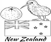 nouvelle zellande drapeau kiwi dessin à colorier