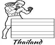 thailande drapeau muay thai dessin à colorier