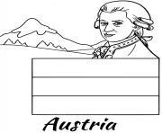 autriche drapeau mozart dessin à colorier