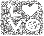 Coloriage love zentangle st valentin