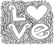 coloriage love zentangle st valentin