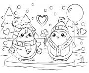 coloriage pingouin couple en amour st valentin