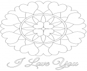 Coloriage i love you mandala saint valentin