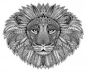 Coloriage mandala animaux adulte tete de lion