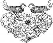 deux oiseaux amoureux coeur fleurs dessin à colorier