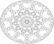 fleurs mandala avec coeurs pour adulte dessin à colorier