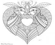 oiseaux amoureux saint valentin dessin à colorier
