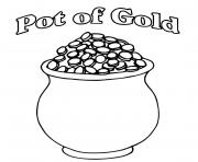 A Pot of Gold Full of Coins St Patricks dessin à colorier