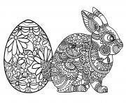 oeuf et lapin de paques adulte dessin à colorier
