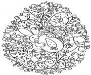 lapin et oeuf de paques fleurs adulte dessin à colorier