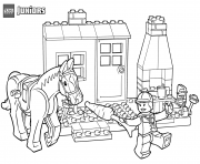 Coloriage horse stables lego