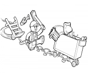 Coloriage lego junior trash and garbage man