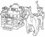 Coloriage lego horse grooming