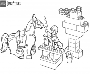 Coloriage lego junior snack time for horse