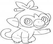 pokemon grookey grass type dessin à colorier