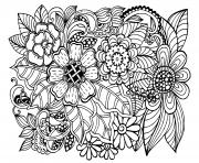 beau doodle motif floral adulte dessin à colorier