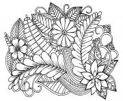 Doodle motif floral en noir et blanc adulte dessin à colorier
