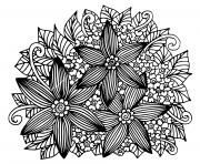 doodle floral dessine a la main adulte dessin à colorier